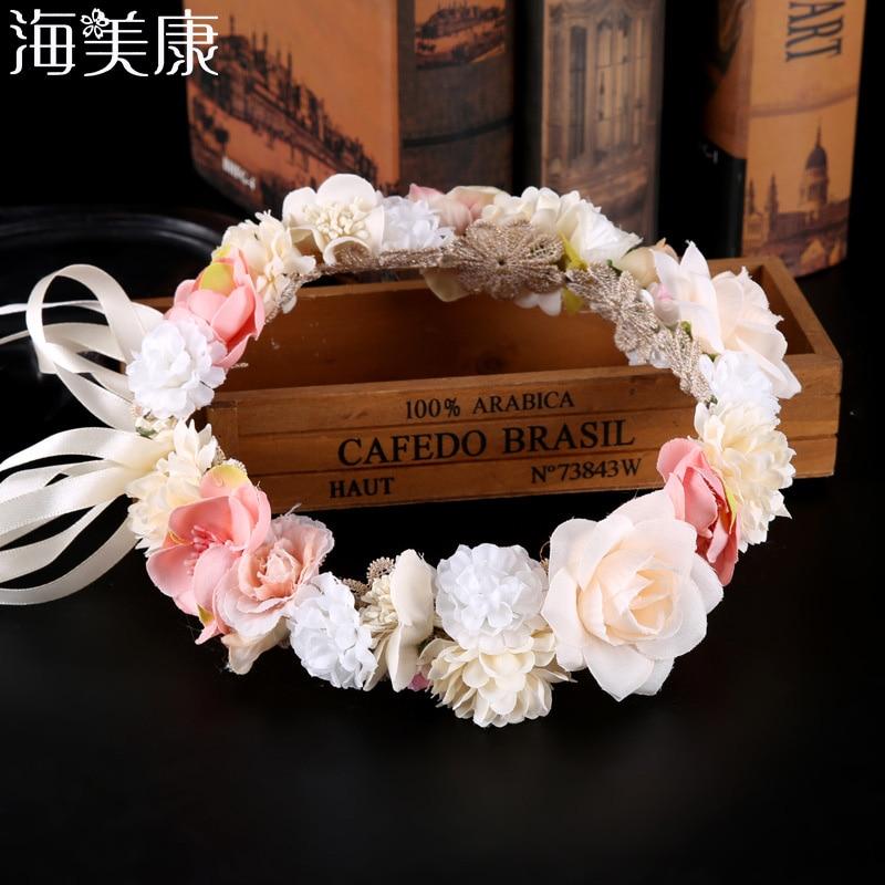 Haimeikang Beach Holiday Hawaiian Wreath Bride Headdress Garland Sen Female Simulation Flower Headband Photo Accessories
