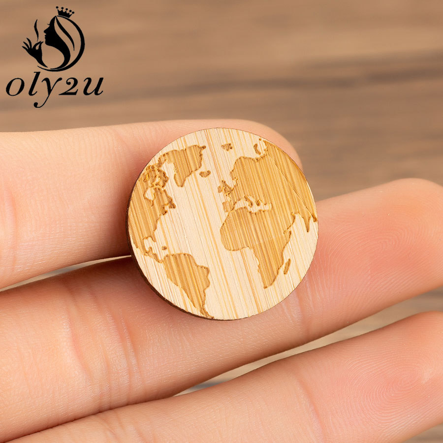 Oly2u World Map Brooches Pins For Women Wooden Geometric Brooch Round Circle Wood Lapel Pins Girls Clothing Decoration Jewelry circle