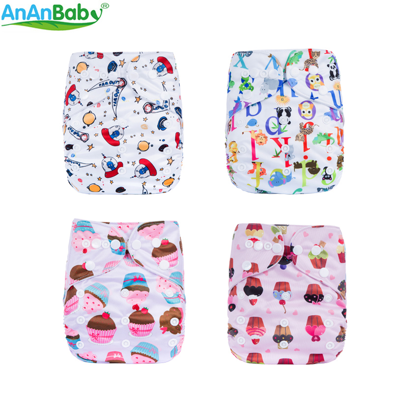 AnAnBaby Washable Cloth Diaper Cartoon Character Prints Pocket Nappies Cover Double Row Rise Snaps N-series