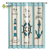 Dear House Curtains Nautical Collection Lighthouse Anchor Pointer Curtains Living Room Decor(China)