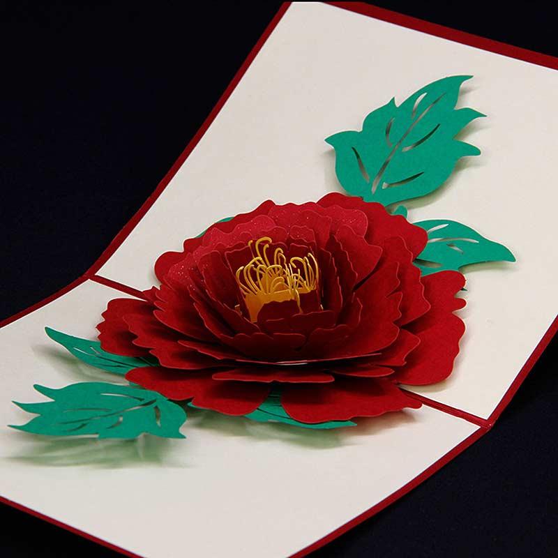 Happy Birthday Card 3d Pop Up Handmade Greeting Card Flowers