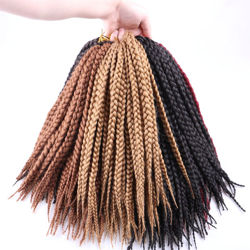 "Luxury For Braiding Kanekalon Syntheic Hair Blonde Brown Burgundy  14"" 12strands/pc 6pcs/lot Jumbo Crochet Box Braids for Kids"