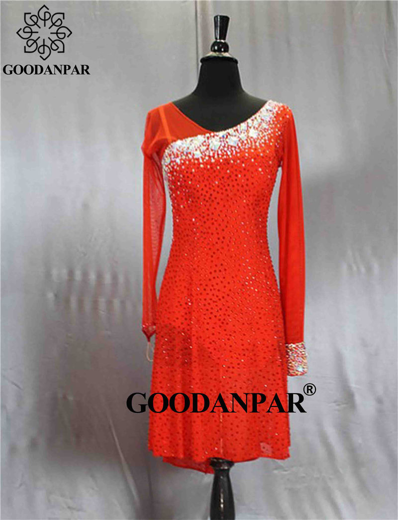 GOODANPAR  Dance Dress Latin Dress Latin Skirt Short Sexy Costume Salsa Rumba Samba Cha Cha Handmade Stones Good Quality