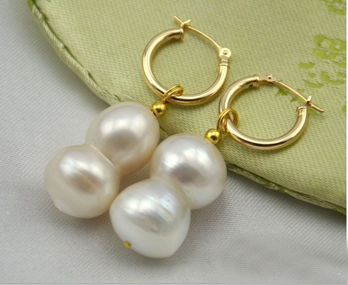 women Jewelry Earring 20mm White calabash Natural Freshwater pearl bead highlight pearl Dangle Earring