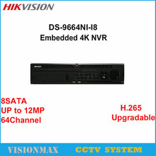 Hikvision DS-9664NI-I8 4K 64CH NVR HD Video Recorder H.265 With 8 Sata Interface HDMI Output Up to 12MP Camera Surveillance NVR