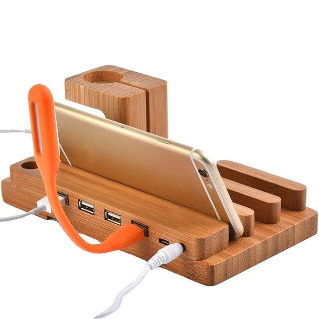 Thời trang Tre Đa Chức Năng USB Sạc Dock Điện Thoại Tablet Chủ Núi đối với Apple Điện Thoại Đồng Hồ Chủ