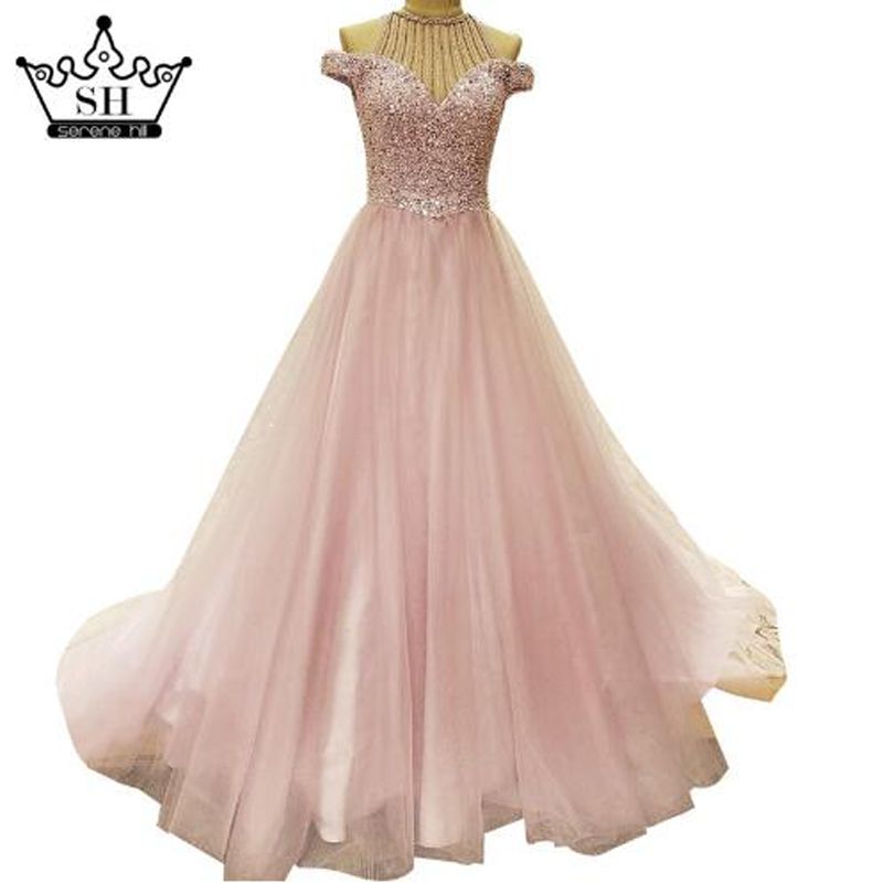 LS57110 Latest Evening Gown Designs Dubai Long Evening Dress Crystal ...