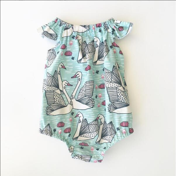 1pcs Newborn Baby Girl Infant 2017 Clothes Newborn Printed Cartoons Fashion Romper Cute Outfit Ropa de Bebe Children Clothing
