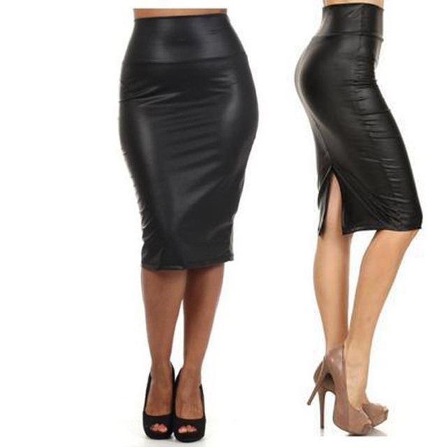 0ef6061f26d Women PU Faux Leather Midi Pencil Bodycon Skirts New Plus Size 3XL Ladies  Sexy Tube Skirt Femininas Back Split Skirt