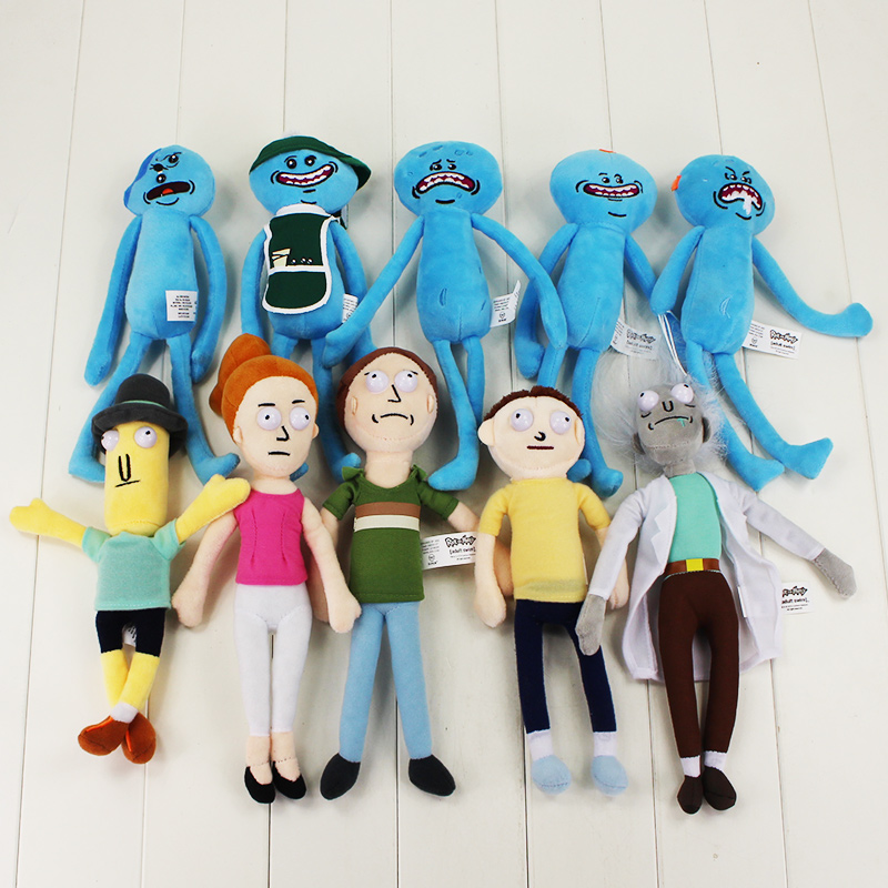 Fullset 10style Rick and Morty Plush Happy Sad foamy Caddy Meeseeks Mr Poopybutthole Jerry Soft Stuffed