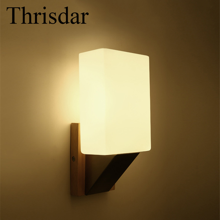 Thrisdar E27 Nordic Solid Wooden Wall Sconce Lamp Balcony Bedroom Bedside Bedroom Restaurant Hotel Aisle Corridor Wall Lamp modern wooden led wall lamp bed room bedside natural solid wood white glass bedroom bedside aisle corridor entrance wall sconce