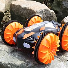 LH-C013 2.4G Off Road Racing Climbing Truck Amphibious RC Stunt Car Waterproof 4WD Toy Remote Control 360′ Rotation LED Light