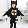 Niños ropa de invierno ropa para niños trajes de batman niños hoodies + pants 2 unids chándales de los niños al por mayor del bebé boutique de ropa