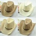 Homens Da Praia do Verão Chapéu De Cowboy da Palha Panamá Sun Cap Primavera Fantasia Accssory Aba Larga Fedora Sombreiro Khaki