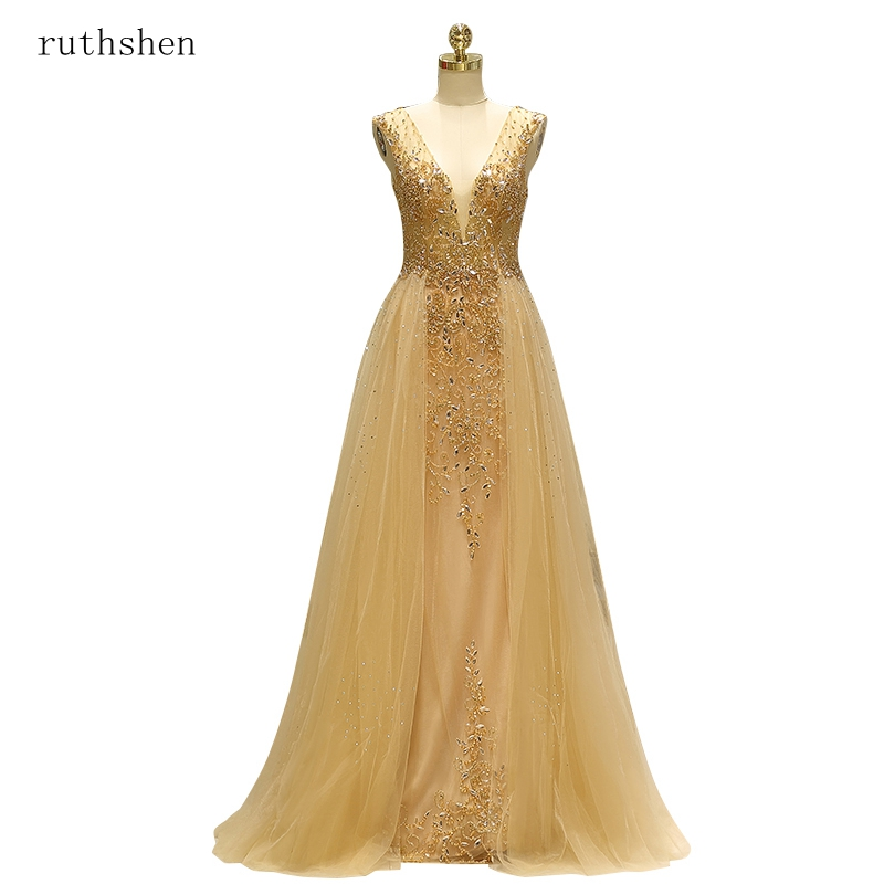 ruthshen 2019 New Handmade Diamonds Transparent Prom Dresses Sexy Open Back Formal Party Dress Illusion Vestido De Formatura