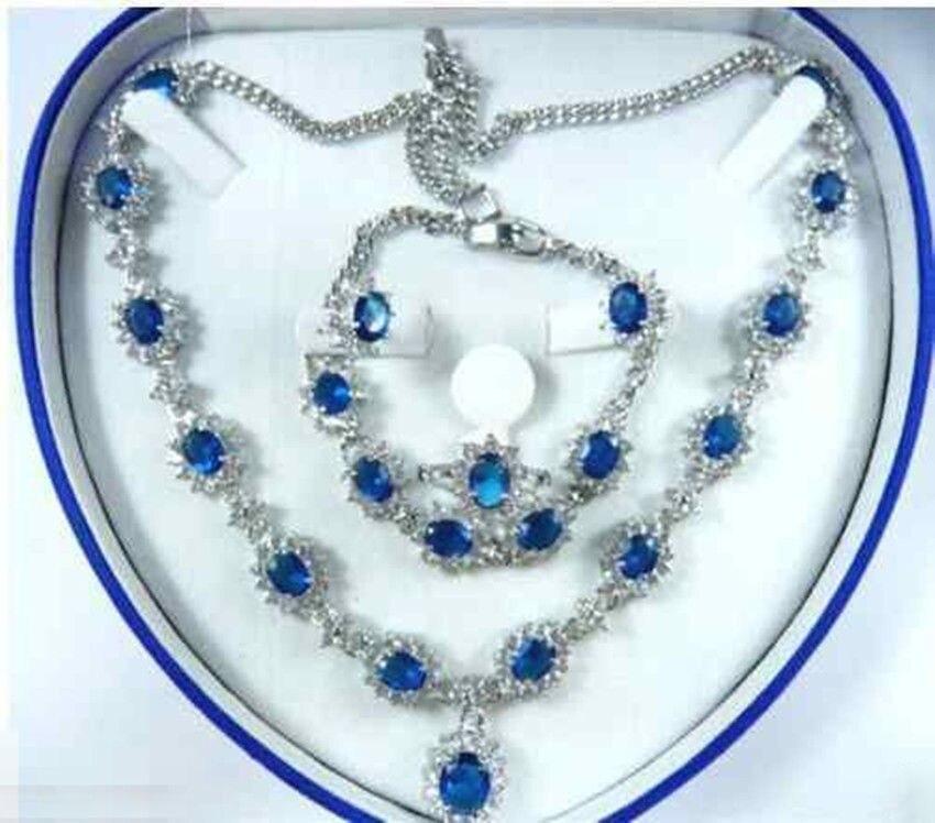 Bijoux femmes ensemble bleu zircone collier boucle d'oreille anneau Bracelet> plaqué montre en gros Quartz pierre CZ cristal