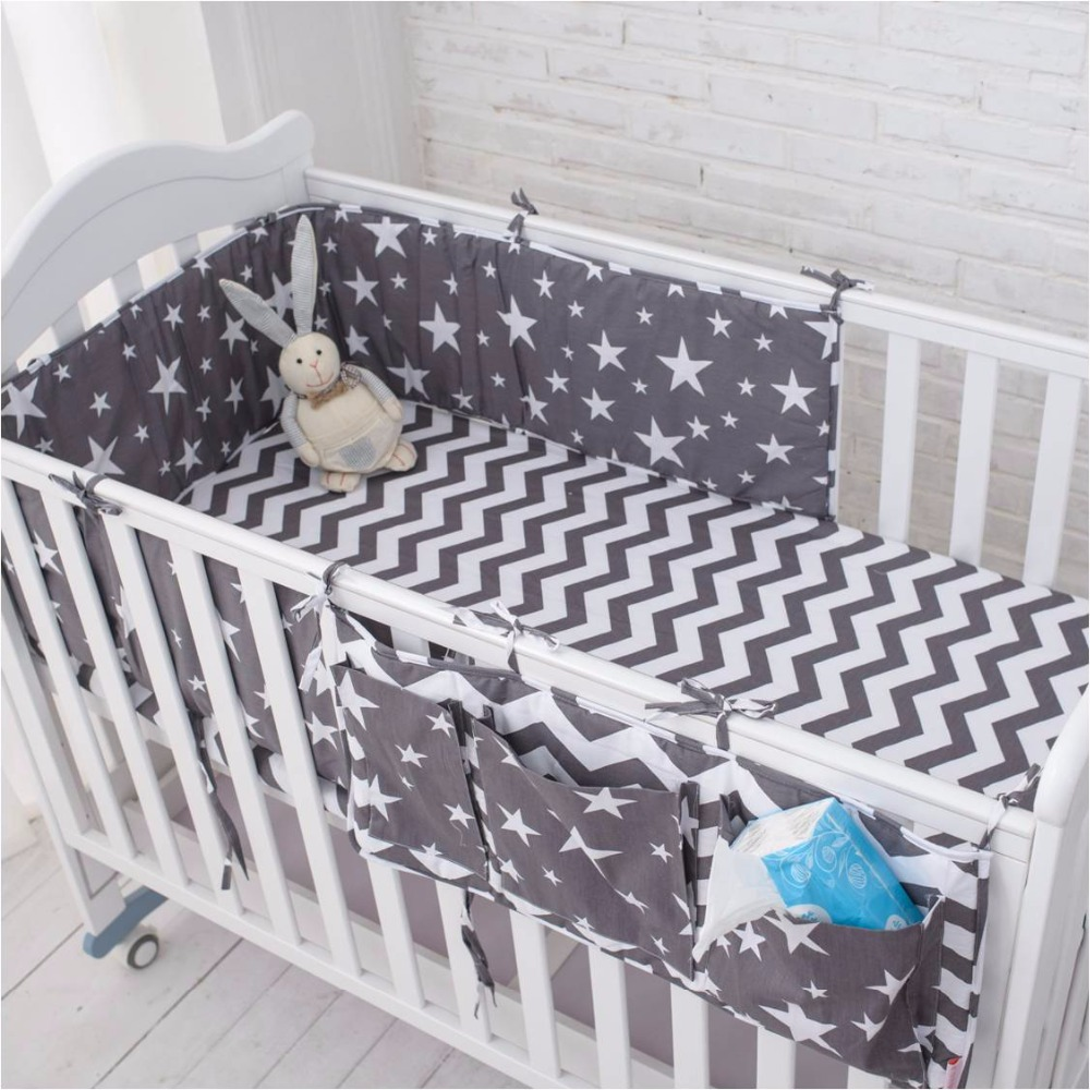 Muslinlife Grey Star Bedding Set,Multi-functional Baby Safe Sleeping Baby Bed Bumpers Set Soft Baby Cot Bed Hanging Storage Bag