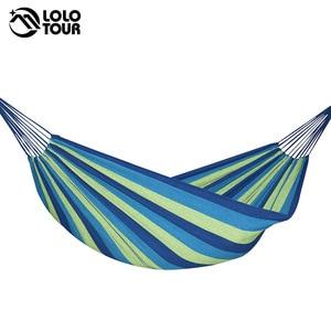 Image 5 - Hamac 2 personnes 240*150cm hamac de loisirs en plein air lit suspendu double couchage toile balançoire hamac camping chasse 2 couleur