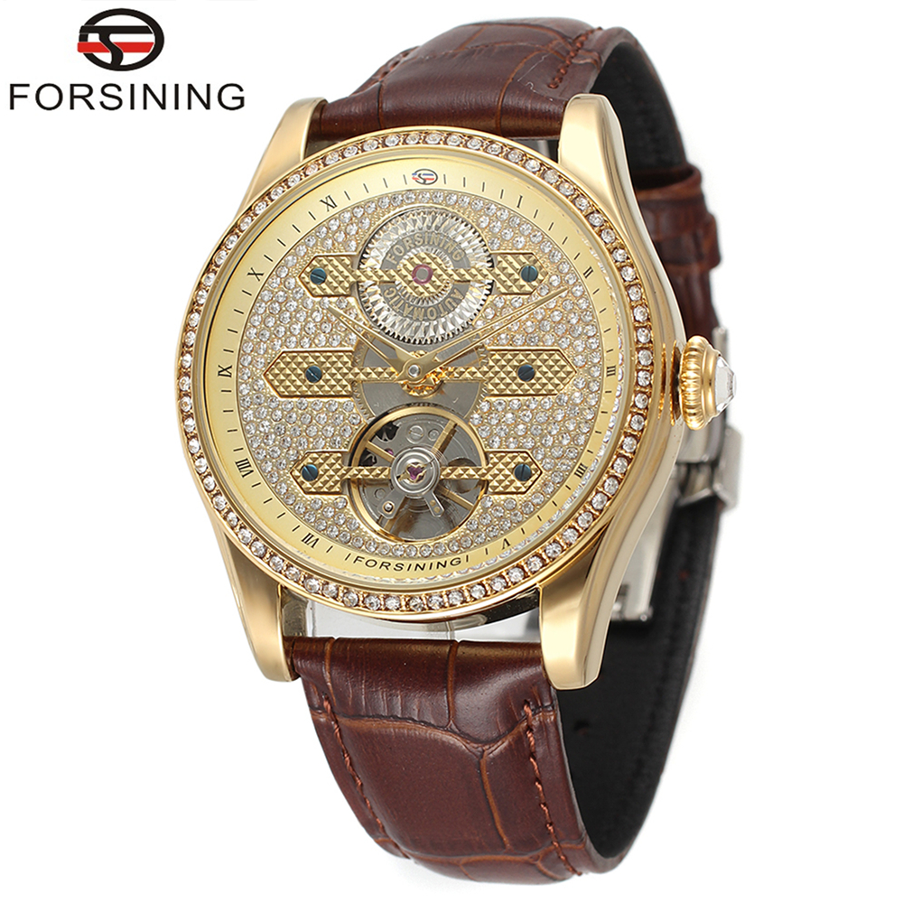 FORSINING Brand Mens Genuine Leather Band Tourbillon Automatic Self-Wind Mechanical Watch Fashion Wristwatch Relogio Releges forsining latest design men s tourbillon automatic self wind black genuine leather strap classic wristwatch fs057m3g4 gift box