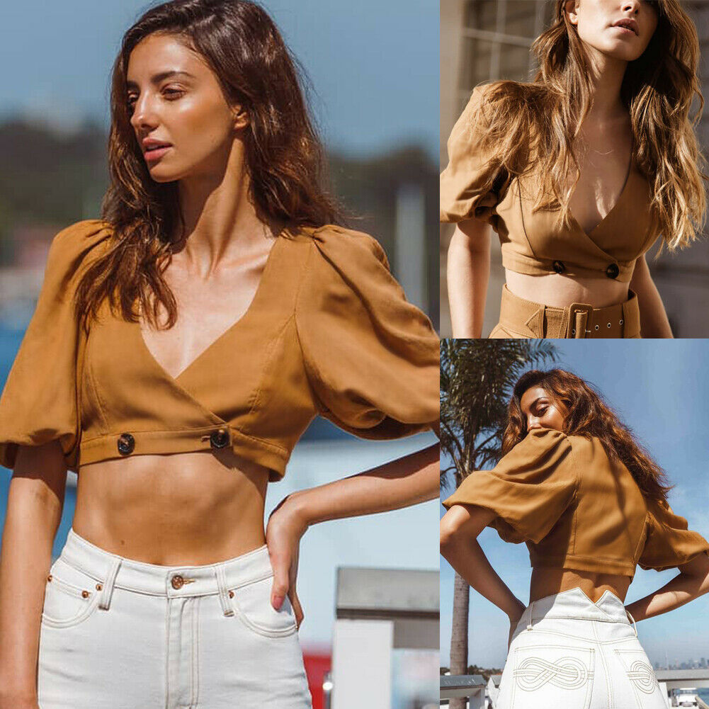 Summer Fashion Women Short Sleeve Blouses Lady Casual Deep V Neck Blouse Crop Tops Shirt  Slim Fit Summer Blouse Tops