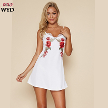 Summer Sexy Mini Strap Dress Women Casual Embroidery Boho White V-neck Beach Backless Dress Fashion Club Party Dressse Vestidos цена и фото