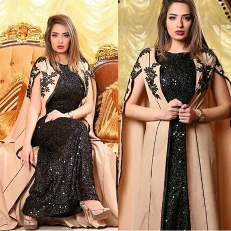 New Arrival Black Sequine lace muslim   evening     dress   2019 Suknia wieczorowa   evening   gowns for women Dubai Arabic   dress