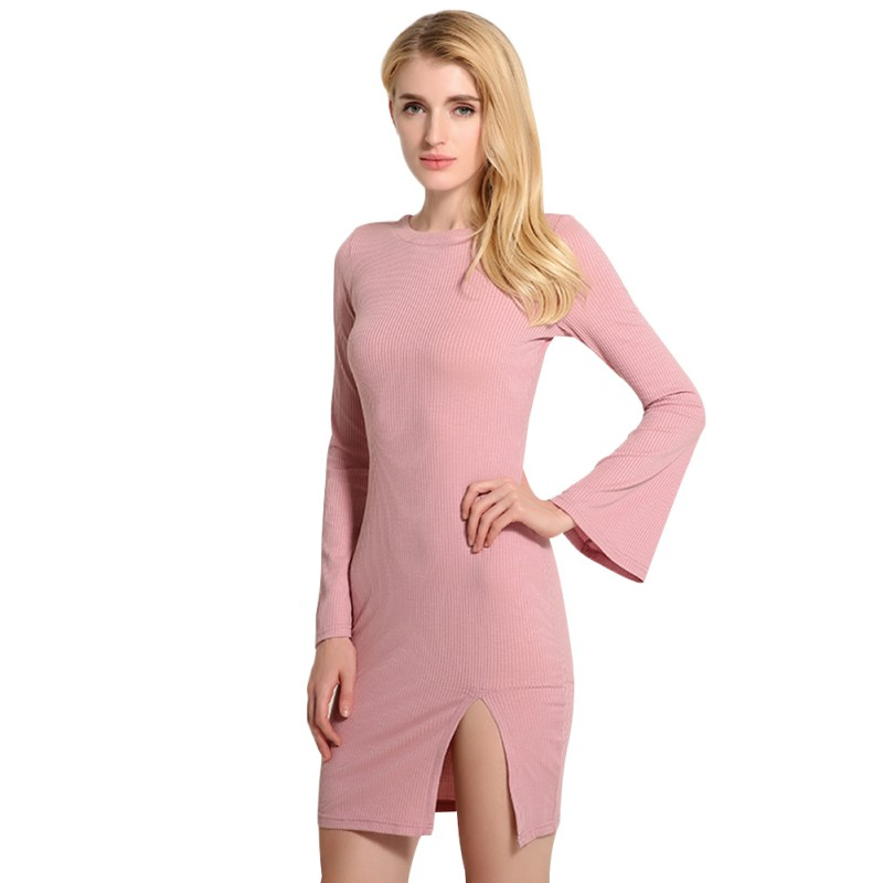 2017 Stylish Women O-Neck Sexy Knitted Dress Flare Sleeve Dress Long Sleeve Bodycon Backless Women Dress Vestidos stylish round neck long sleeve stereo flower embellished knitted dress for women