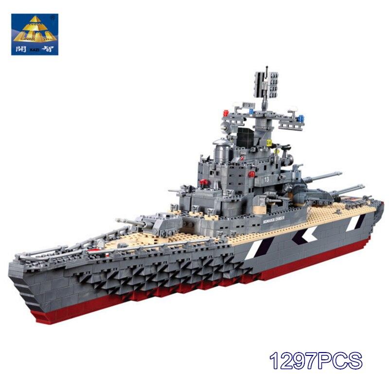 297pcs Blocks KAZI 82012 Military World War Bricks Bismarck Cruiser Battleship Model Building Set Toy for Kid Compatible Lego trumpeter ships model 05316 german pocket battleship graf spey