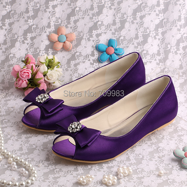 110a8917dfc9 Brand Name Dark Purple Flat Shoes Bridesmaid Open Toe (20 Colors) Bow Shoes