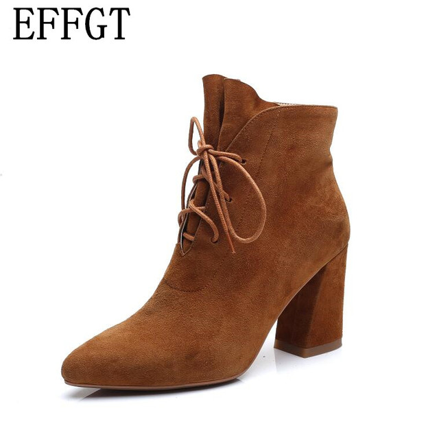 EFFGT Fashion 2017 new Women Boots Sexy lace-up High Heels Boots Pointed Toe Winter Ankle Boots women High heels H92