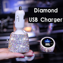 цена на Crystal Diamond USB Car Charger For Mobile Phone Charger Car-Charger Dual USB Car Phone Charger Data Line Wire in Car Ornaments