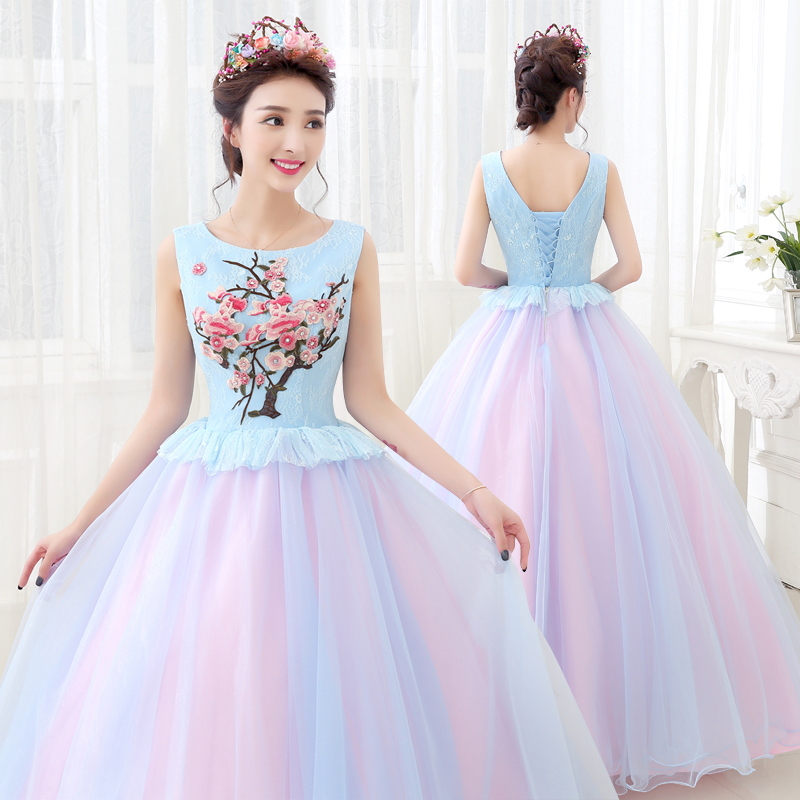 Flowers Embroidery Turquoise Ball Gown Quinceanera Dresses Puffy Sweet 16 Dress Debutante Gowns Sexy quinceanera-jurk