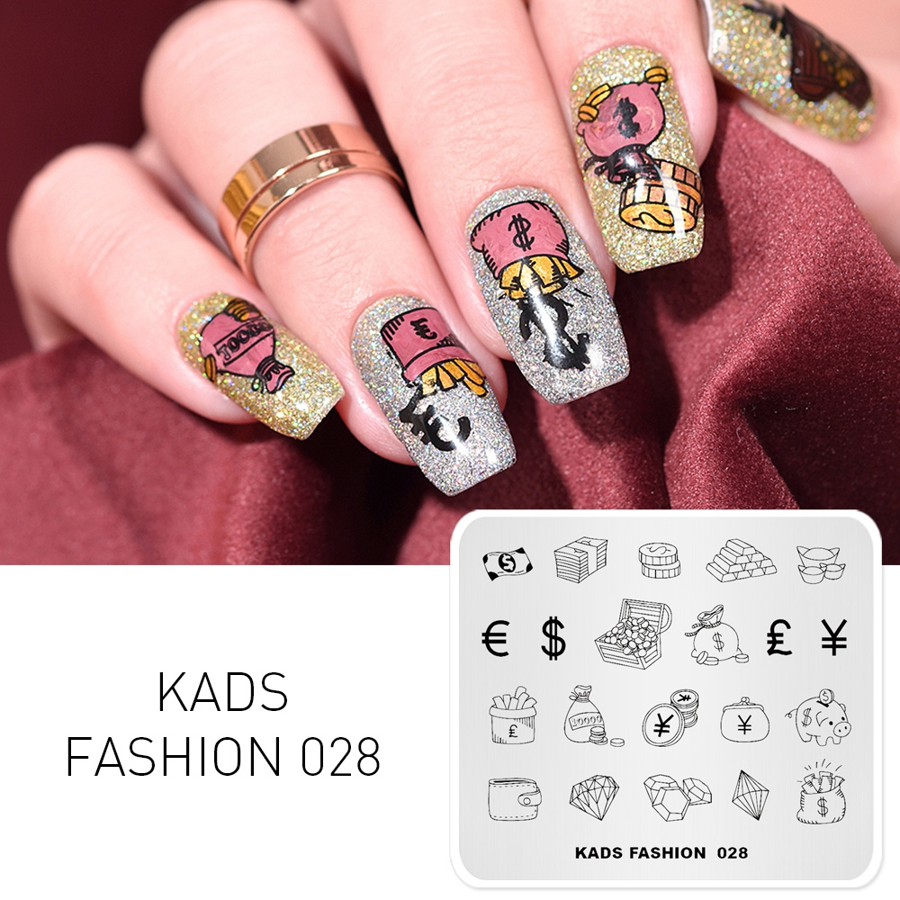 KADS Nail Templates Fashion 028 Wish Fortune Design Image Template Nail Stamp Templates Plate Stamping Nail Art Stencils