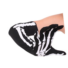 iMucci Women Halloween Skeleton Gloves Arm Half-finger Sleeves Personality Ghost Fingers Warm Autumn Winter
