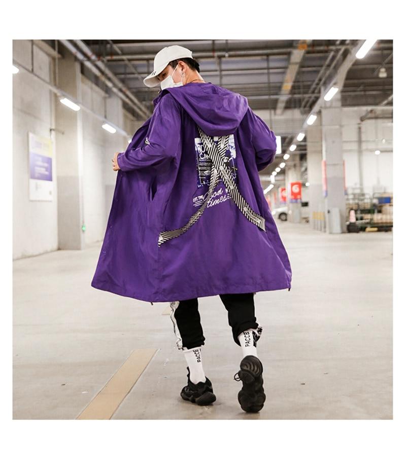 Long Men Trench Coat Casual Spring 2018 Slim Fit white Mens Hood Street South Korea Clothing (9)
