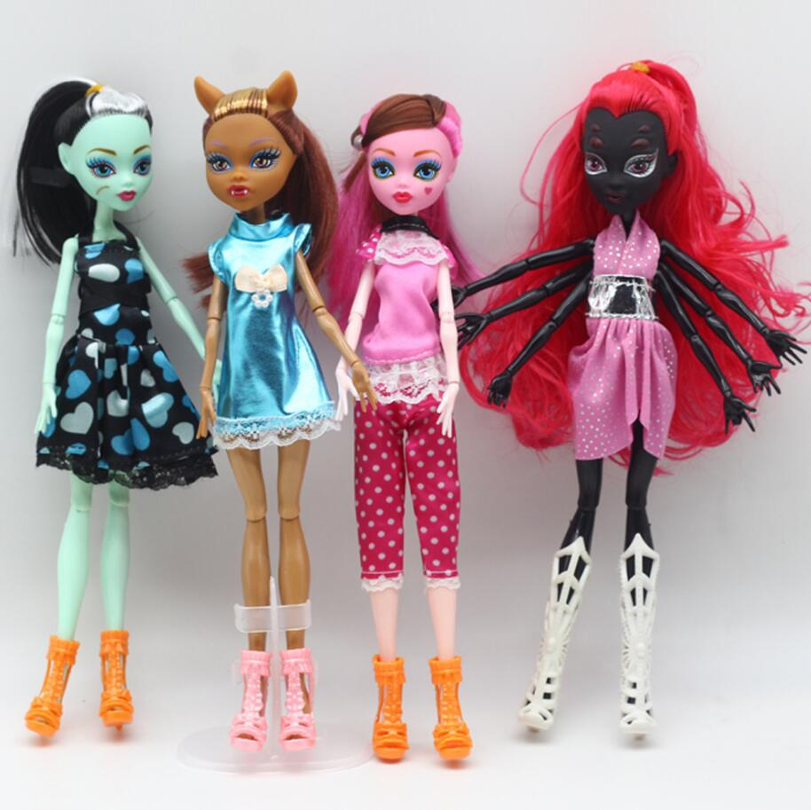 1pcs High Quality Fasion Monster Dolls Draculaura Clawdeen Wolf Frankie Stein Black WYDOWNA Spider Moveable Body