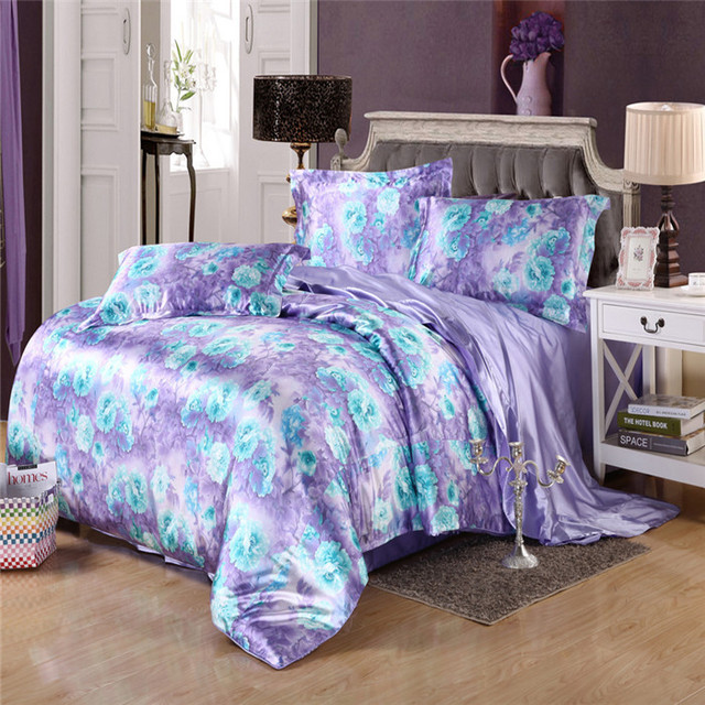 Romantic Floral Bedding Silk Satin Duvet Cover Set 4 Pieces Sheet