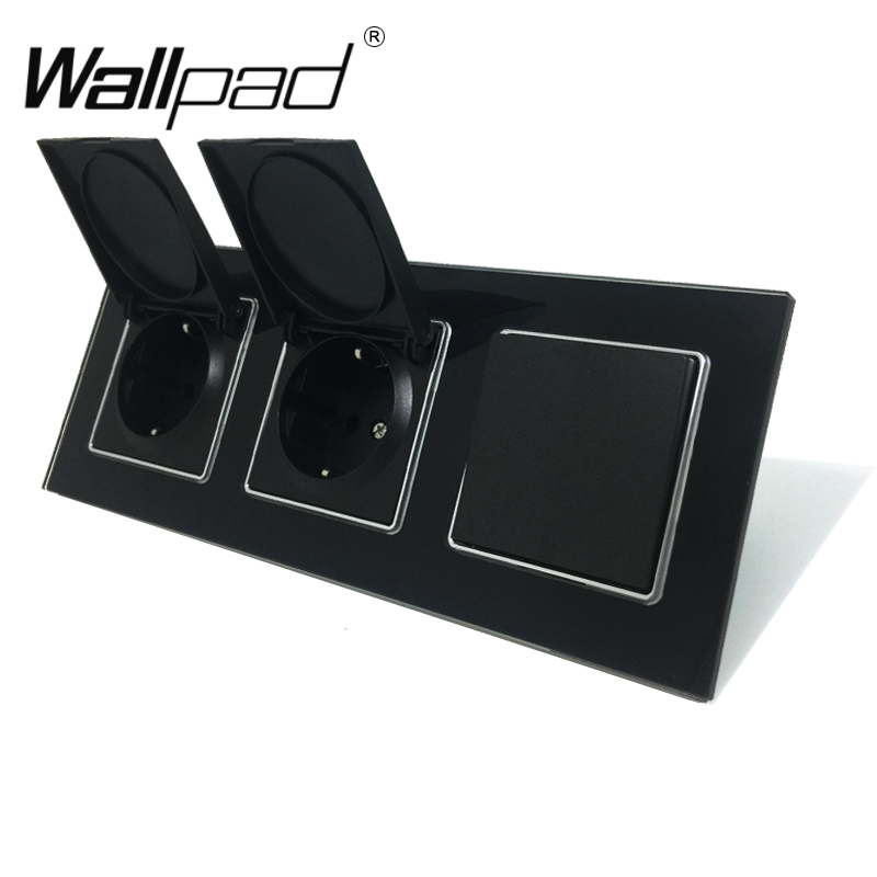 2 Cap Socket+ Light Switch Wallpad Black Crystal Glass EU Triple Frame 1 Gang 2 Way and 16A EU Wall Socket with Cap Claws Mount2 Cap Socket+ Light Switch Wallpad Black Crystal Glass EU Triple Frame 1 Gang 2 Way and 16A EU Wall Socket with Cap Claws Mount