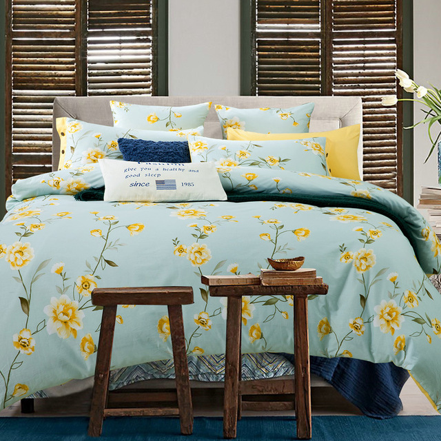 High Quality 100 Cotton Bedding Sets Flower Beautiful Fashion Design Luxury Healthy Bed Set Duvet