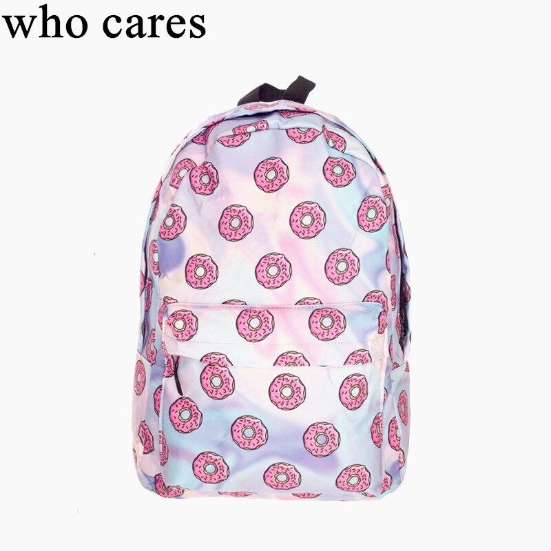 Holo Rosquinhas 3D mochila impressão mochila mulheres saco mochilas mujer 2018 Nova escola mochilas laptop saco um dos back pack schoolbag