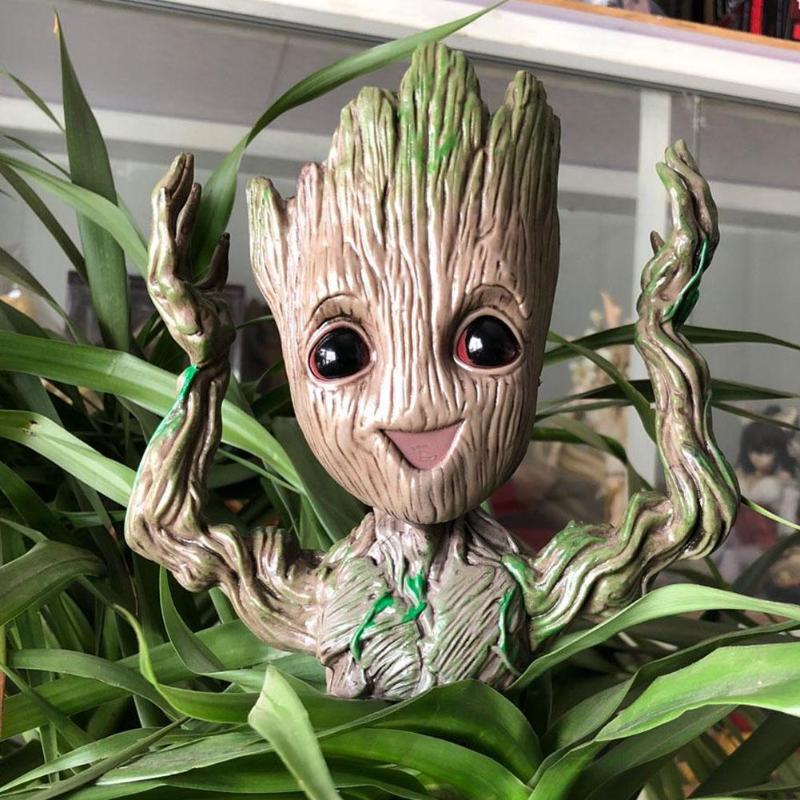 Guardians of The Galaxy Groot Tree Man Figure Flowerpot Pen Pot Kids Gifts Set