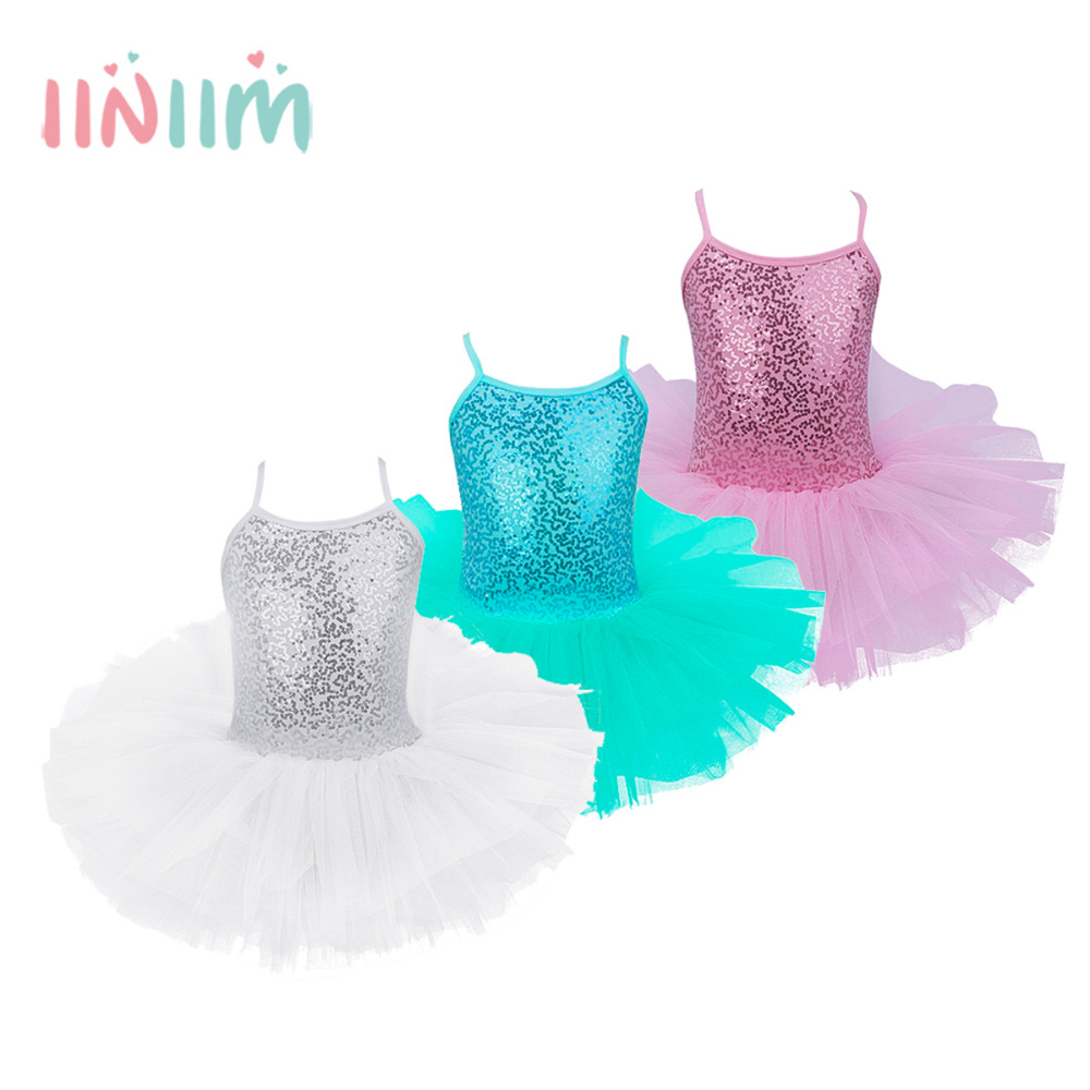 Girls Kids Tutu Gymnastics Ballet leotard Dancer Dress Ballerina ...