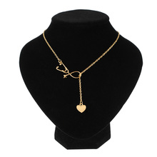 1 Pcs Trendy Heart Stethoscope Pendant Necklace Nurse Medical Gold/Silver Color Gift Fashion Jewelry  For Women Girls Wholesale