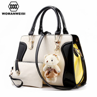 2016 Brand New Splice PU Leather Composite Bags With Bear Toy Fashion 7 Colors Women Handbags