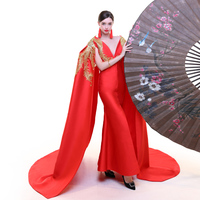 100%real red peacock golden embroidery long cloak dress gown stage dress queen cosplay Victoria dress Belle/can customs size