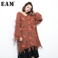 EAM 2017 Pullover Thin Sweater V Neck Holes Autumn Fashion New Pattern Bow Tassels Sleeve