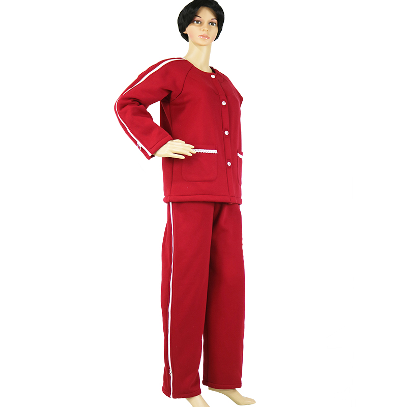 Elderly Care Clothes Easy Wear Off Thicken Cotton Clothing, For Paralysis Long Time Disability Incontinence Patient,violet / Red