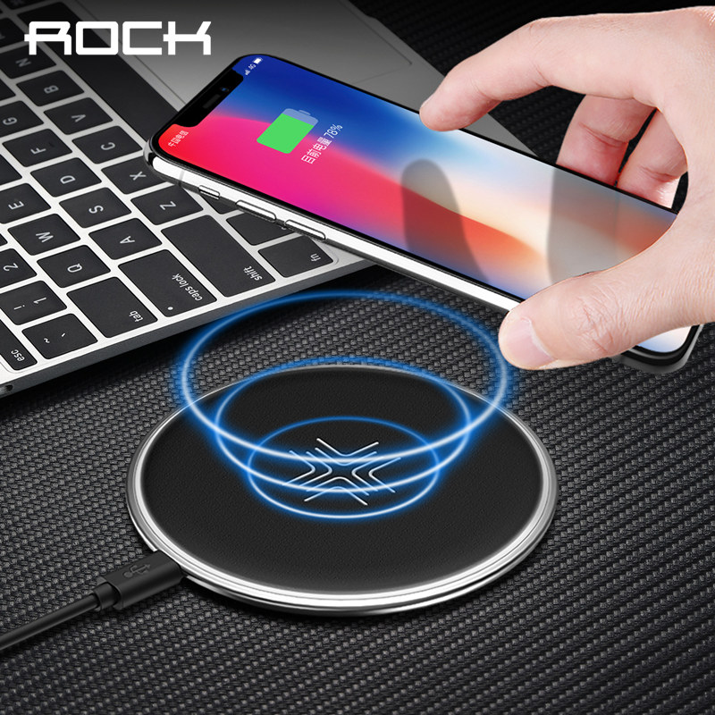ROCK Qi Fast Wireless Charger for iPhone X 8 plus,Wireless Charger for Samsung Galaxy Note 8 S8 S7 edge S6 Qi-Enabled Devices