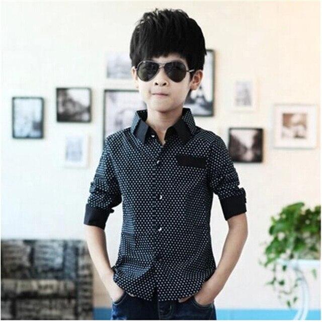Children Clothing Baby Boy Dot Long-sleeve Brand Kid Blouse School Dress Shirts for Boys Turn Down Collar Fashion Cotton Outwear