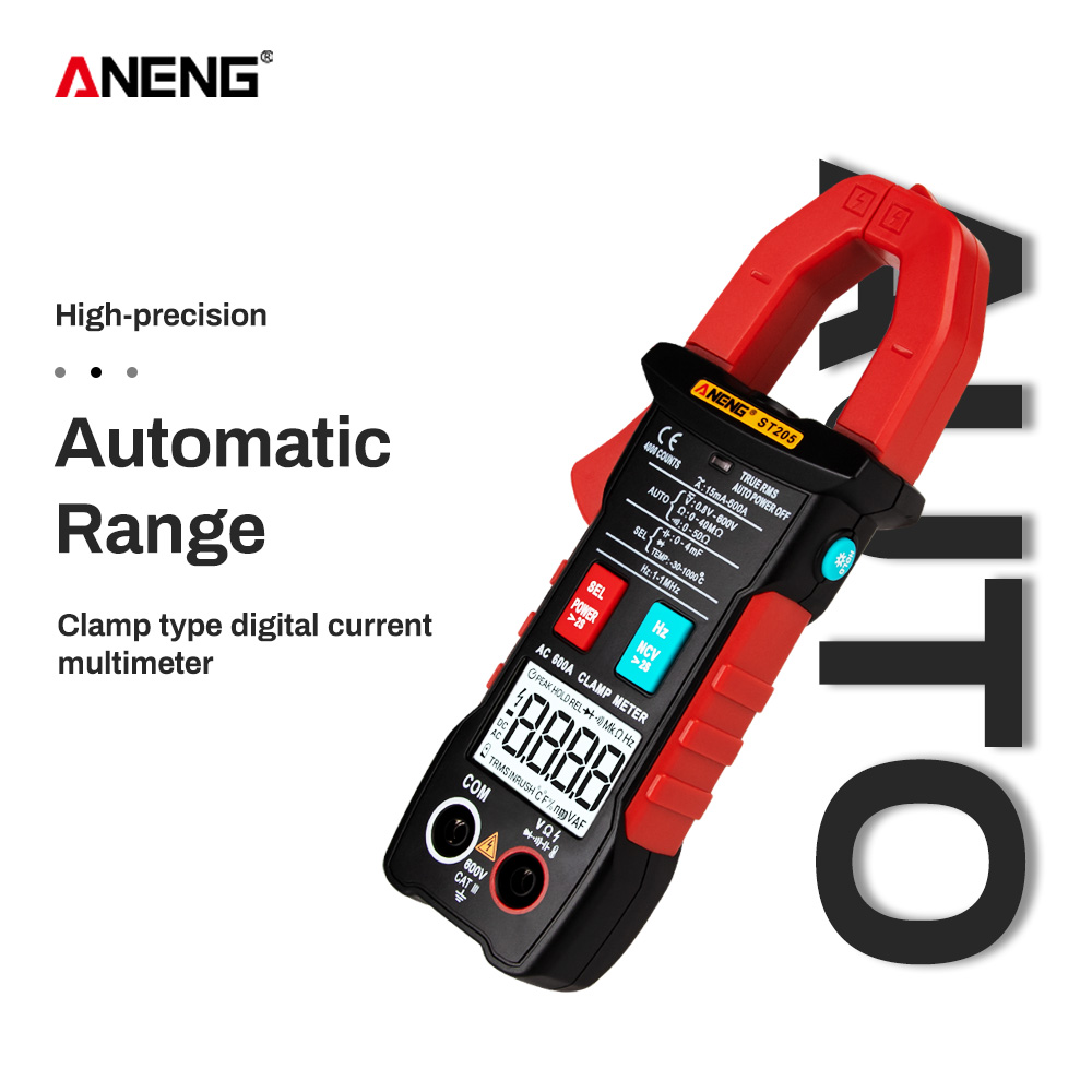 ANENG ST205 Digital Clamp Meter Analog Multimeter Current Clamp DC/AC Intelligent AUTO range meter with temperature tester image